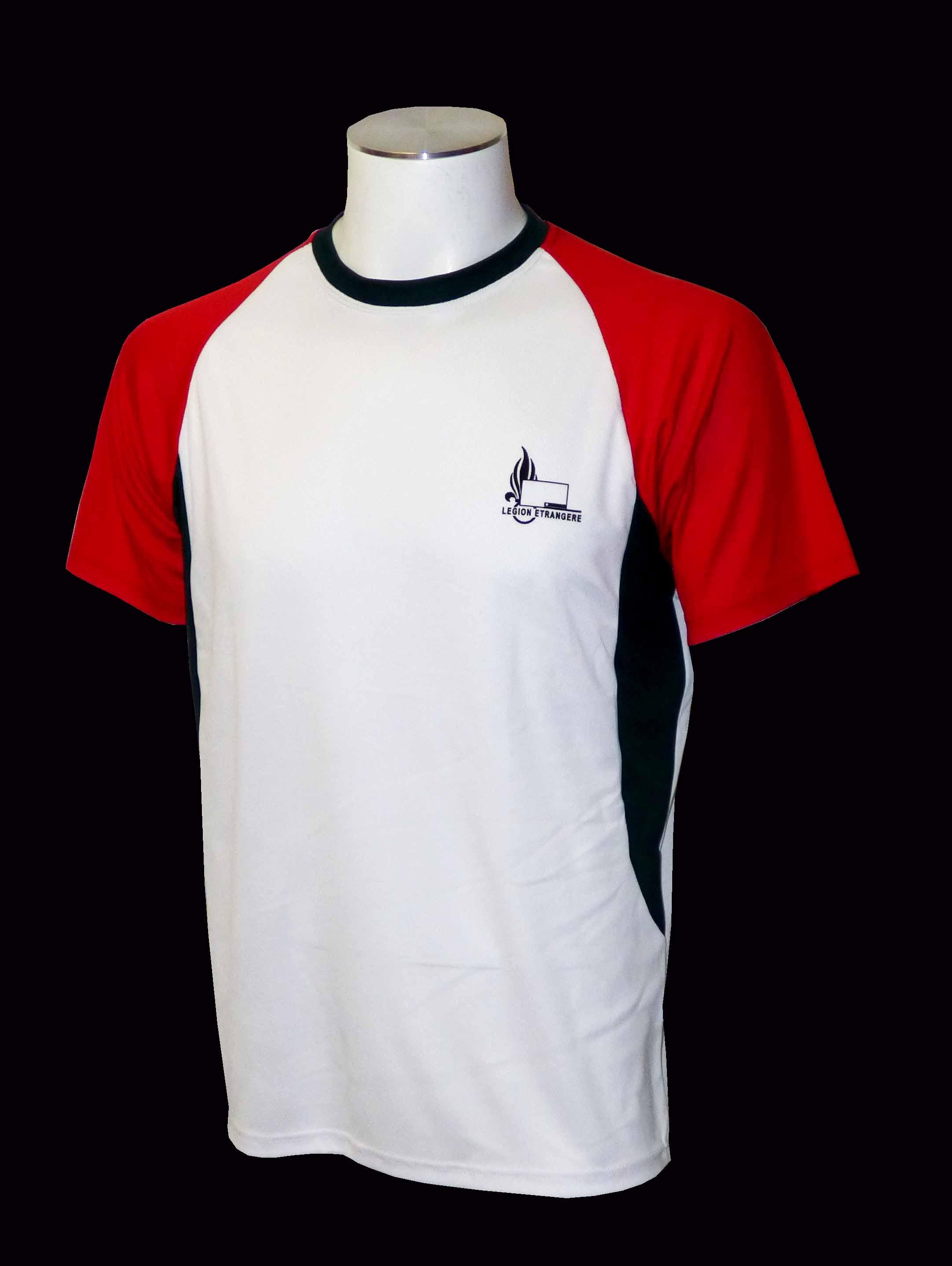 Tee shirt coolmax blanc manche rouge HAB049B   Vente et livraison ... a69c4107ea24